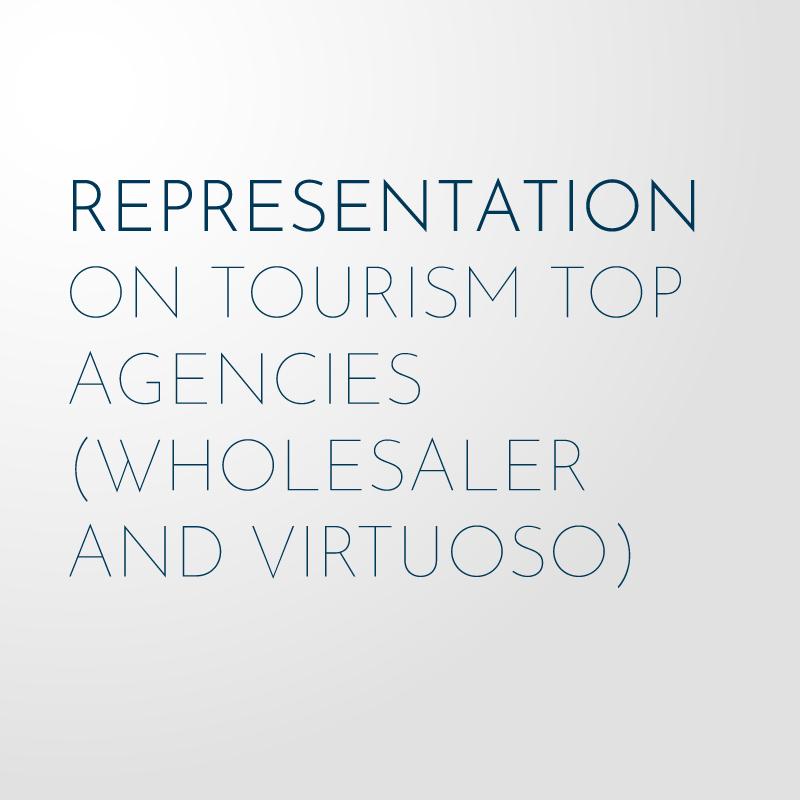 Representation on tourism top agencies (wholesaler and virtuoso)